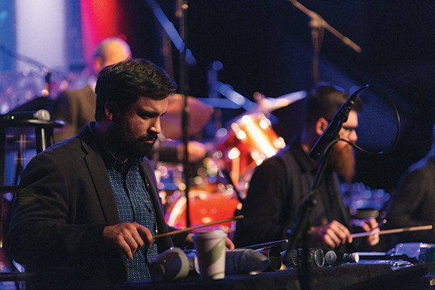 Adam Sliwinski and Josh Quillen of So Percussion performing at Club Helsinki. - THOMAS SMITH