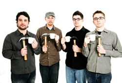 Adam Sliwinski, Jason Treuting, Josh Quillen, and Eric Beach of So Percussion. The ensemble will be performing Steve Reich's Drumming at Maverick Concerts on July 31.