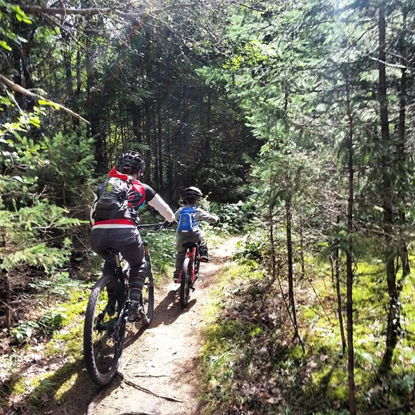 Aidan Kinsley & Lisa Zippo riding the Hardy Road Trail in Willmington, NY, a Fats in the Cats recommendation. - KEVIN BALAY