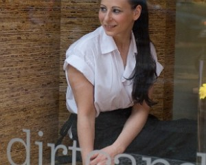 Amanda Cohen in front of Dirt Candy NYC restaurant