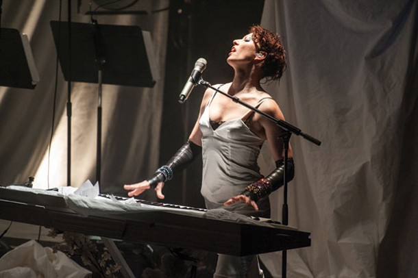 Amanda Palmer performing with her Grand Theft Orchestra at Bard College's Richard B. Fisher Center for the Arts on September 5. Photo by Stephanie Berger.