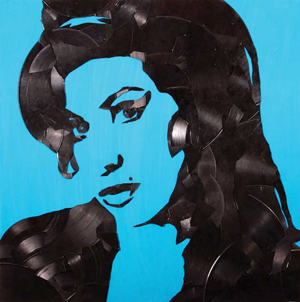 "Amy Winehouse, Greg Frederick, vinyl records on canvas, 24"" x 24"", 2012."