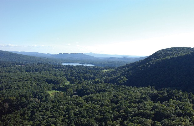 An aerial shot of Yokun Ridge on the right and the Stockbridge Bowl and Tanglewood in the distance.