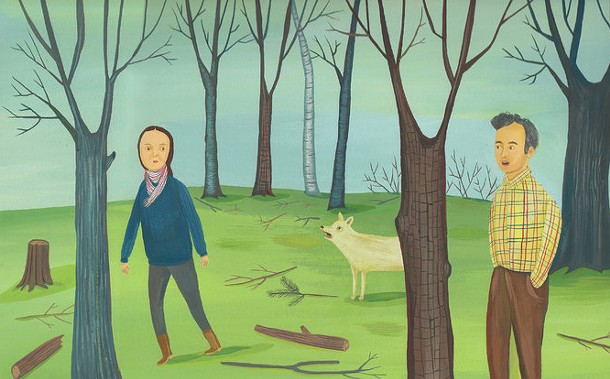 An illustration for a review of Lorrie Moore's book of short stories, Bark. - GISELLE POTTER/NEW YORK TIMES BOOK REVIEW