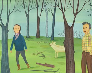 An illustration for a review of Lorrie Moore's book of short stories, Bark.