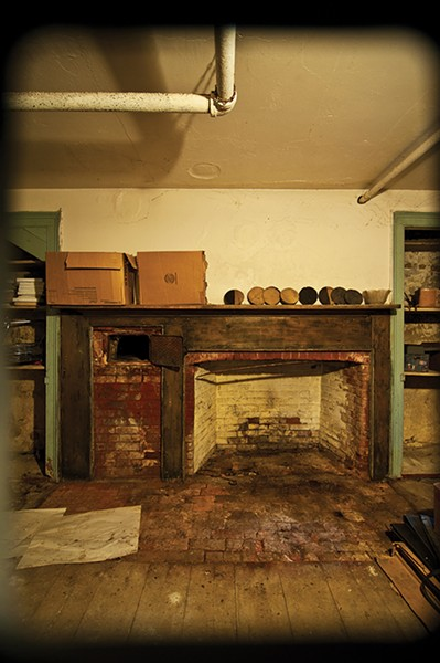 An old kitchen in the basement.