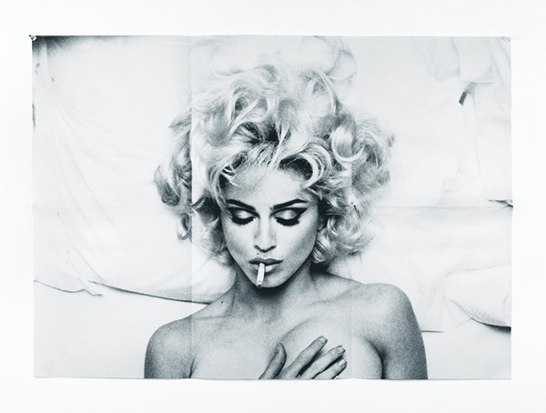 "Anne Collier, Folded Madonna Poster (Steven Meisel), C-print, 50"" x 64.8"", 2007 - Collection of Norah and Norman Stone."
