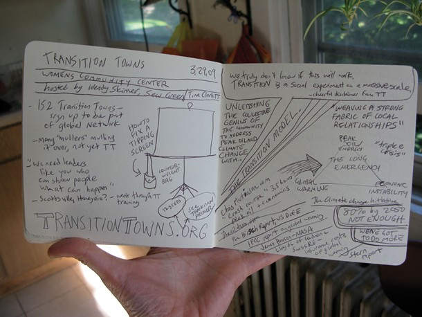 Ari Moore's photograph of her notes from a presentation in Ithica about the Transition Towns model of transition to a post-oil future.