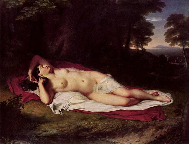 "Ariadne Asleep on the Island of Naxos, John Vanderlyn, oil on canvas, 68 1/2"" × 87"", 1809-1814."