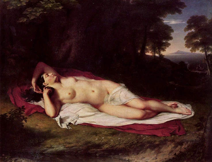 "Ariadne Asleep on the Island of Naxos, John Vanderlyn, oil on canvas, 68 1/2"" × 87"", 1809-1814."