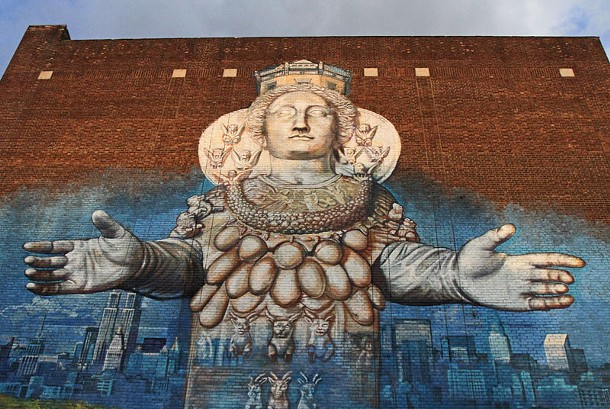 """""""Artemis Emerging from the Quarry,"""" a mural by Gaia on the back of Backstage Studio Productions theater this week as part of the O+ Festival in Uptown Kingston, NY. - ERIC FRANCIS COPPOLINO"""