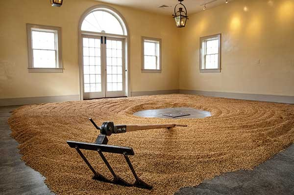 Barley and malt rake in the Hillrock Estate Distillery Malthouse.