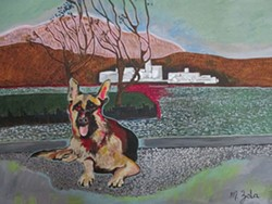 MARTHA ZOLA - Beacon Dog and Plant, painting by Martha Zola