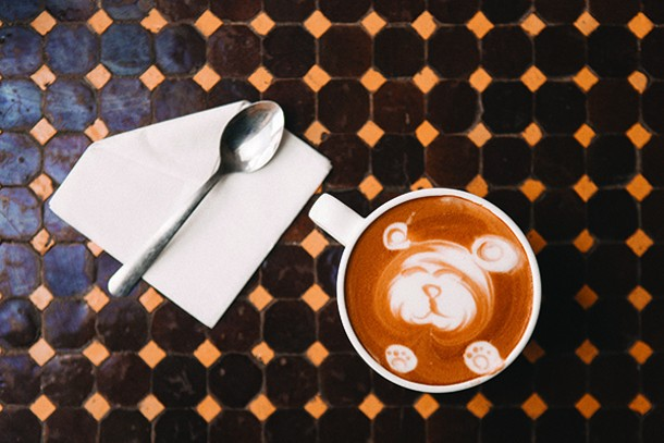 Bear-shaped latte art at Bank Square Coffeehouse in Beacon. - THOMAS SMITH