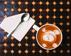 Bear-shaped latte art at Bank Square Coffeehouse in Beacon.