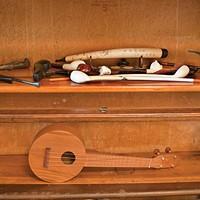 Bergstraesser's Rhinebeck Ranch Bergstraesser's collection of churchwarden pipes and his ukelele. Deborah DeGraffenreid