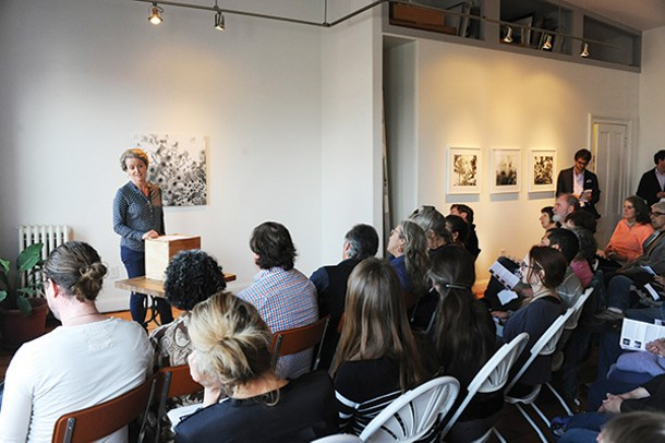Bettina Abarbanell from Germany reading at Marianne Courville Gallery in Hudson on April 12.