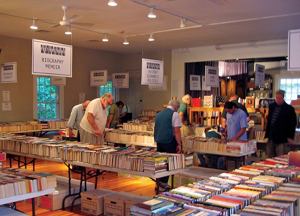Bibliophiles browsing the aisles at the Spencertown Academy Festival of Books.