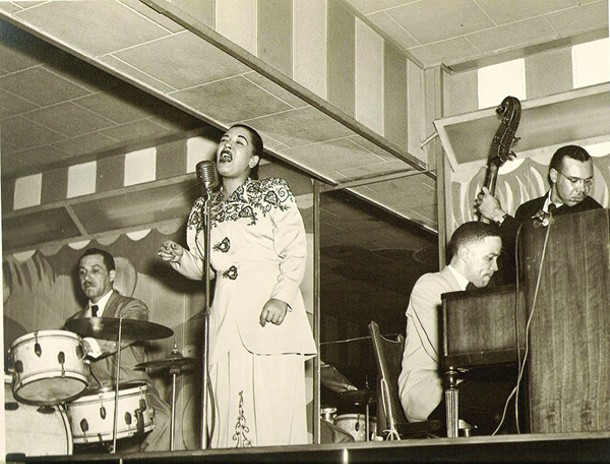 Billie Holiday at the Club Bali, Washington, DC, in 1948. Catskill Jazz Factory presents a centenary tribute by the Aaron Diehl Trio with Cécile McLorin Salvant on May 8.