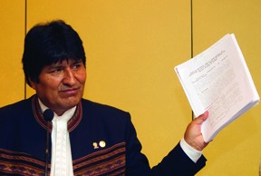 Bolivian president Evo Morales claims the modern diet is to blame for baldness and homosexuality.