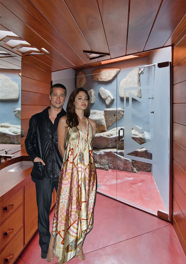 Brangelina in their funky fresh bathroom.
