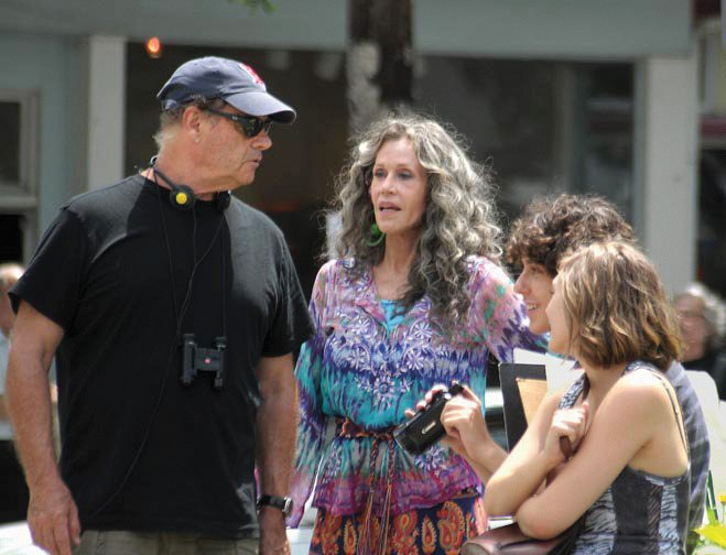 "Bruce Beresford with Jane Fonda during a break from filming ""Peace, Love, and Misunderstanding"" this summer in Kingston."