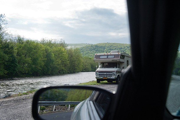 Camper on Esopus creek in Mount Tremper.