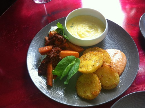 Carrots with oregano, paprika,. and vinegar; polenta with mascarpone and thyme; and fried green tomatoes with harissa aioli