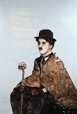 "Charlie Chaplin (from the ""Great Americans"" series), Abshalom Jac Lahav, Oil on Canvas, 72"" x 48"", 2013."