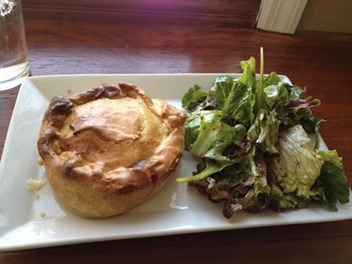 Chicken pot pie and salad
