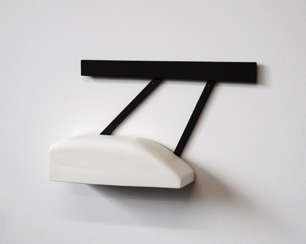 "Christina Tenaglia, Untitled, 2013, wood, paint, nails, 13 ½ x 3 ¼ x 8""."