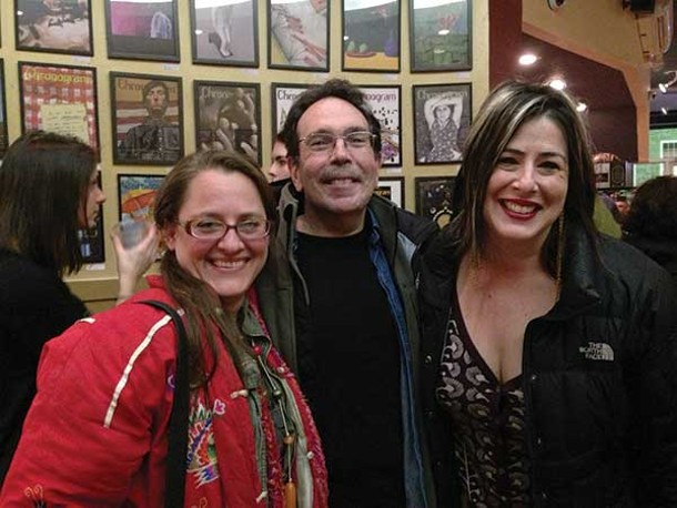 Christina Vargas, Aaron Rezny, and Abbe Aronson at the Chronogram Covers Show at Hudson Valley Coffee Traders in Kingston on January 18. - HUDSON VALLEY GOOD STUFF