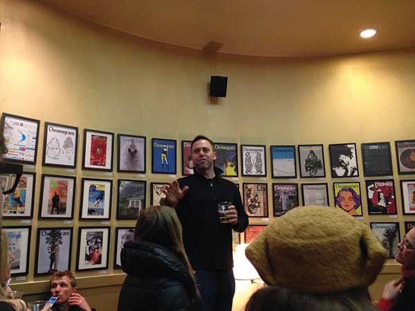 Chronogram Editor Brian K. Mahoney gives a speech at the Chronogram Covers Show at Hudson Valley Coffee Traders in Kingston on January 18. - HUDSON VALLEY GOOD STUFF