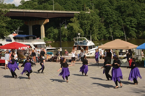 Church Women of the Kingdom Liturgical Dance Ensemble performs at the Reher Center Block Party in Kingston on June 9.