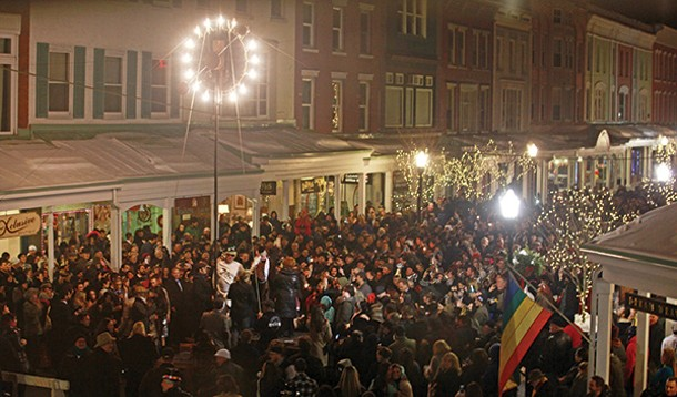 Close to midnight on Wall Street, Kingston, New Year's Eve, 2011. - ERIC FRANCIS COPPOLINO
