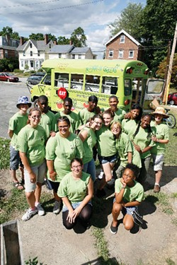 Common Greens mobile farmers' market at the kick-off event for their second season on July 9. A partnership between Common Ground Farm and the Green Teens Community Gardening Program, Common Greens brings affordable, fresh produce to Beacon residents. - FRANC PALAIA