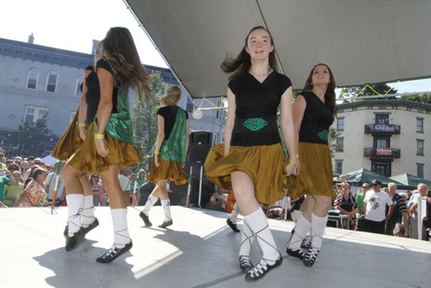 Dancers from the Celtic Heels School of Irish Dance in Red Hook performing at the Hooley on the Hudson in Kingston's Rondout District on September 2. Photo by Phyllis McCabe.
