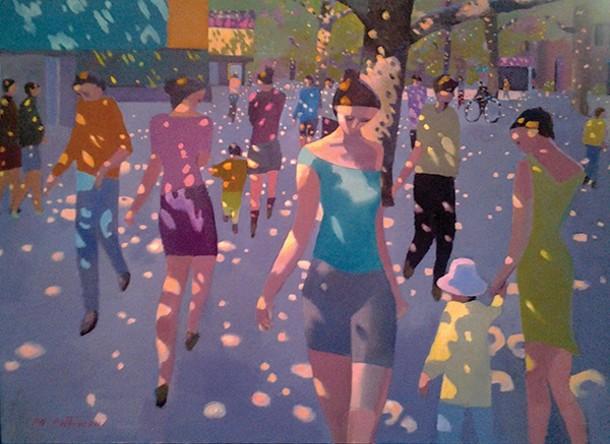 "Dappled Street. Oil on linen, 36"" x 48"", 2013 - MICHAEL PATTERSON"