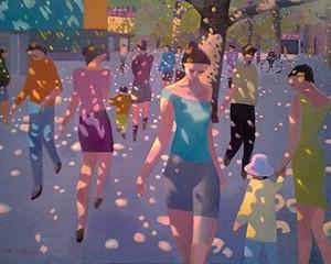 "Dappled Street. Oil on linen, 36"" x 48"", 2013"