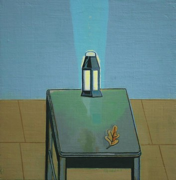 "David Hornung, Interior Monolog  oil on linen over panel, 12"" x 12"", 2009."