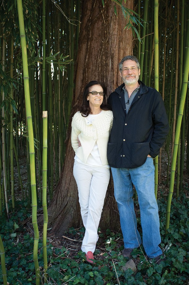 Diana and Jonathan Rose in the bamboo grove behind the main building at the Garrison Institute. - ROB PENNER