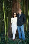 Diana and Jonathan Rose in the bamboo grove behind the main building at the Garrison Institute.