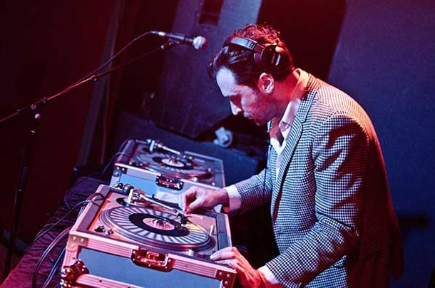 DJ Jonathan Toubin spinning 45 RPMs at the Night of the Living Soul Clap dance party at BSP Lounge in Kingston on February 9.