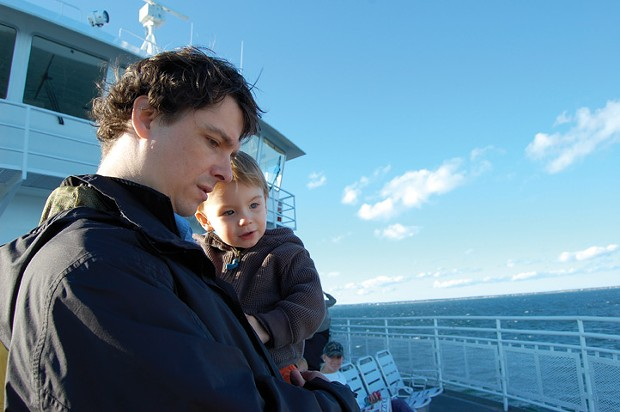 Donovan Hohn and son Bruno on the ferry from Woods Hole to Vineyard Haven.