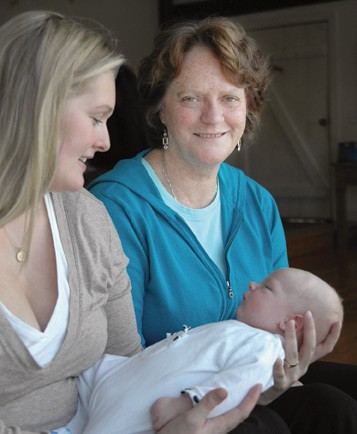Doula Mary Riley and two of her clients. - KELLY MERCHANT