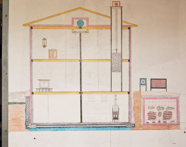 Drawing by Joe Britt on the basement wall of his Accord home illustrating how thermal mass construction heats and cools the house.