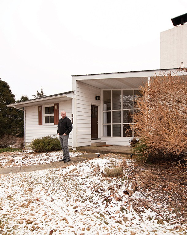 Ed Bergstraesser outside his updated ranch in Rhinebeck. - DEBORAH DEGRAFFENREID
