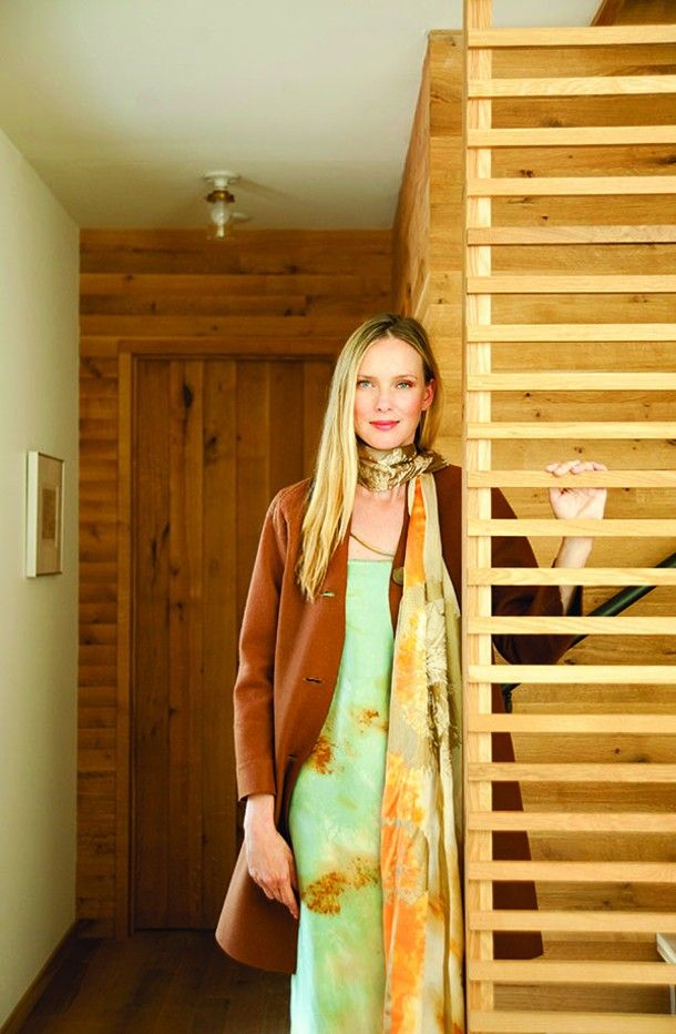 Esther de Jong in chocolate wool felt coat ($395), silk hand-painted dress ($375), - and silk hand-printed dandelion scarf ($149), all by Gwenno James - KELLY MERCHANT