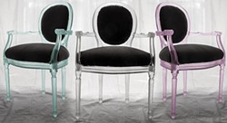 Examples of Kim Markel's resin chairs.