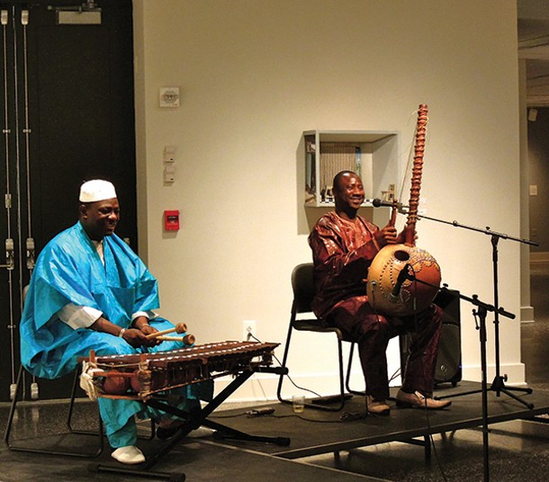 Famoro Dioubate on the balafon and Yacouba Sissoko on the kora at a West African concert at SUNY New Paltz's Dorsky Museum on April 9.